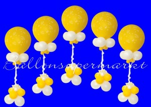 Ballondeko aus Riesenballons zur Hochzeit, Just Married, riesige Luftballons und Miniballons, mit Zierband dekoriert