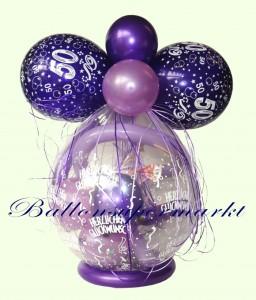 Verpackungsballon zum 50. Geburtstag, Geschenk im Luftballon, Geschenkballon