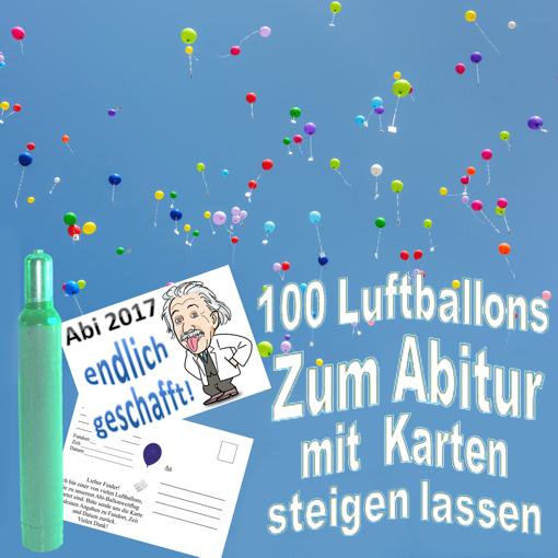 100 Luftballons mit Karten zum Abitur steigen lassen
