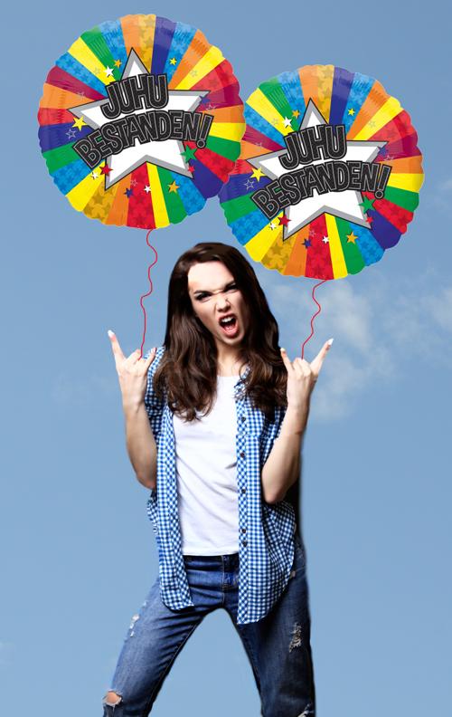 Juhu Bestanden Luftballons zum Abitur